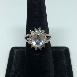 Jewelry - White Sapphire 10kt White Gold Filled Ring Size 6